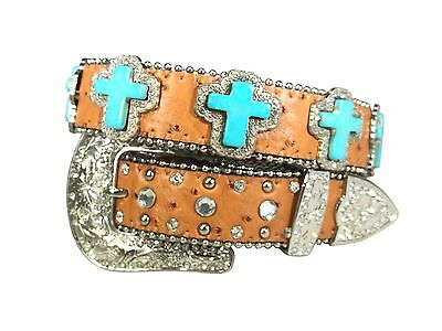 Kids Western Cowboy Cowgirl Cross Rhinestone Studded Bling Crystal Shinny Belt