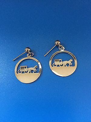 Amish Horse And Buggy Earrings - Silver Color