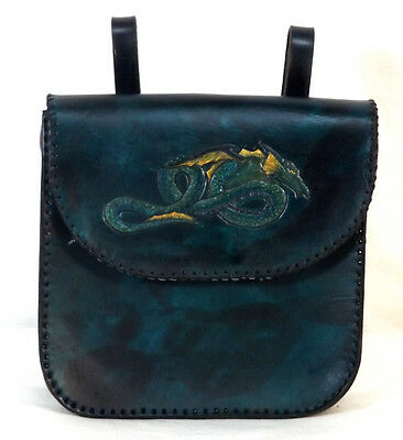 Blue Teal Gold Dragon Leather Belt Pouch Bag Hand Made LARP MADE TO ORDER
