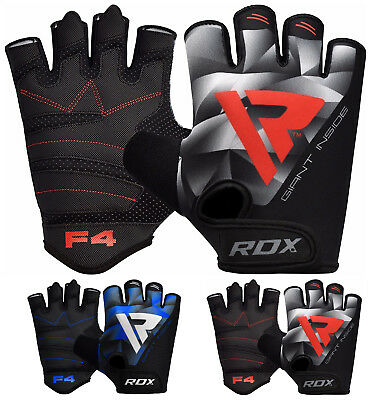 RDX F4 Exercise Weight Lifting Gym Gloves Training BodyBuilding WorkOut  Fitness