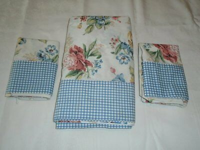 Westpoint Stevens Queen Flat Sheet & 2 Pillowcases Rose Floral Gingham Exc