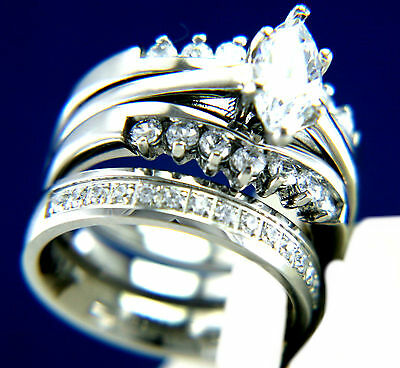 New Womens Stainless Steel 1.62 CT CZ Engagement Wedding Band Ring 3 PCS Set