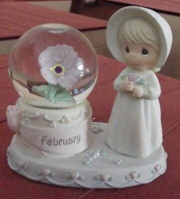 Enesco PRECIOUS MOMENTS ~ February Birthstone Flower Girl Waterball 2000 PMI