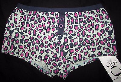 Girls Boxer Shorts Knickers Marks & Spencer Animal Print Blue Mix Green Pure Cot
