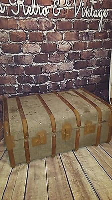 Antique Vintage Large Wooden Banded Travel Steamer Trunk Storage Coffee Table