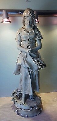 "ALEXANDER BACKER 29"" chalkware statue girl with flowers praying (mm1166)"