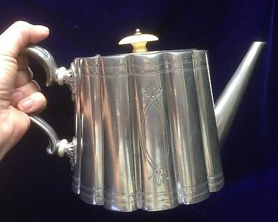 1874 Georgian Style Pewter Teapot With Presentation Inscription