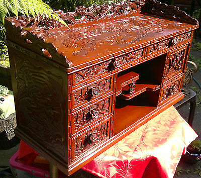 """Vintage Chinese Carved Lacquered Stationary Desktop Curio Cabinet 30""""Across"""