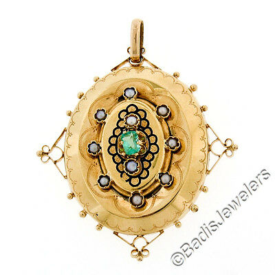 Large Antique Victorian 18K Solid Gold .25ct Emerald Pearl Enamel Etched Pendant