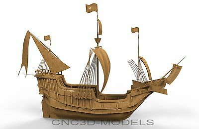 3D Model STL for CNC Router Carving Artcam Aspire Sailing Ship Boat 8621