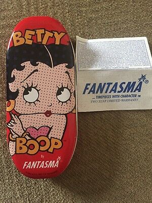 Betty Boop By Fantasma Watch In Tin Case! NWT! Blinking Eyes! Leather Band.