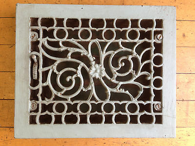 Antique Cast Iron Floral Floor Wall Heat Grate Register With Louvers On Sale Now