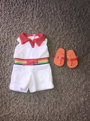 American Girl Doll Ivy's Rainbow Romper Outfit With Sandals. Retired