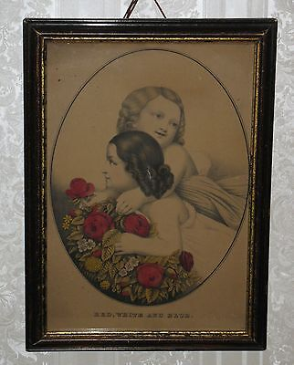 Early 1900's GIRLS ROSES Framed Picture RED WHITE BLUE Antique Victorian Print