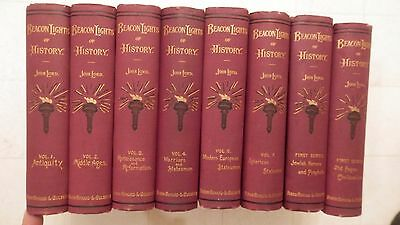 Lot Of 8 Beacon Lights Of History By John Lord 1880's