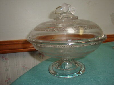 Eapg Flint Glass Panelled Stippled Acorn Finial Compote