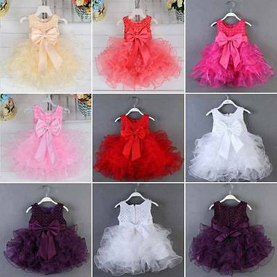 Baby Toddler Girl Clothes Bowknot Flower Princess Wedding Party Pageant Dress AU