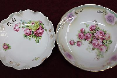 Leuchtenburg Serving Bowl Roses with Gold Trim and Flowers Free Bowl Included