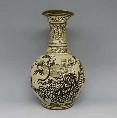 antique    Chinese ancient song dynasty jizhou kiln dragon grain bottle.