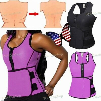 Neoprene Sauna Vest Adjustable Waist Trainer Belt Body Shaper Fat Burner Women