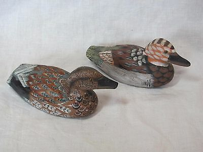 """Two Vintage Wood? Painted Duck Figurines 6"""" Long Albert E Price"""