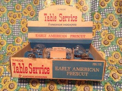 Vintage Anchor Hocking 7pc Table Service Set Early American Prescut NIB