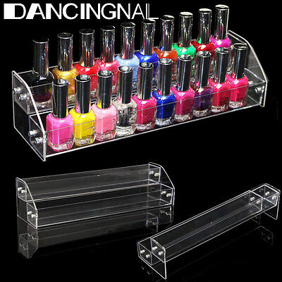 2 Tier Clear Nail Polish Varnish Bottle Acrylic Retail Display Stand Holder Case