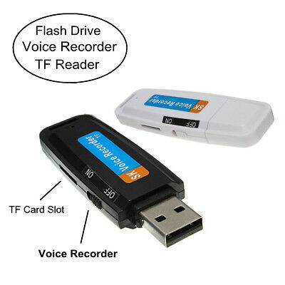 RECORDER MICRO REGISTRATORE VOCALE SPIA Pen Drive USB Flash Drive TF Card Slot