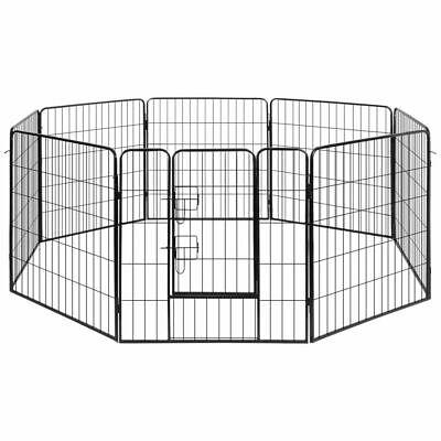 Pet Dog Playpen Puppy Exercise Fencing Cat Fence 8 Panel Play Pen Cage Enclosure