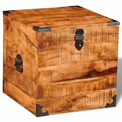 Handmade Rough Mango Timber Wooden Square Storage Chest Trunk Blanket Toy Box