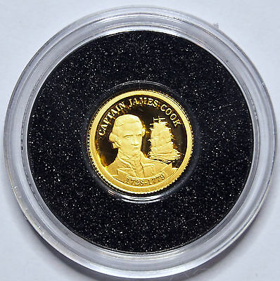 2009 - Captain Cook - 0.5 Gram Gold Coin - Cook Islands - .999 Fine - $1 Proof