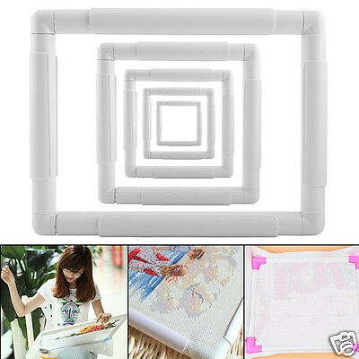 Square Embroidery Snap Cross Stitch Frame Sewing Tool For Cross Stitching White