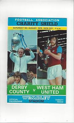 Derby County v West Ham United Charity Shield 1975 Football Programme