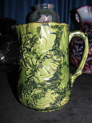 Yelloware/sponge Ware Green Pitcher 6 Inches Floral Design Excellent Condition