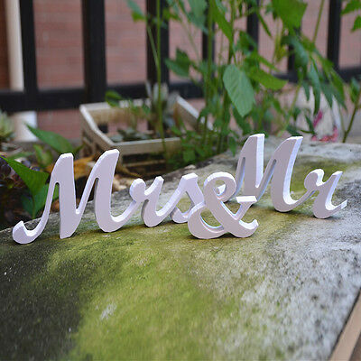 Wedding Reception Sign Solid Wooden Letters Mr & Mrs Table Centerpieces Decor