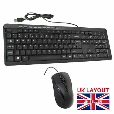 CiT KBMS-001 USB Wired Keyboard And Mouse Combo Set Black UK Layout Home&Office