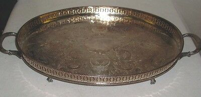 "LARGE OVAL FOOTED TRAY SILVER PLATED ON COPPER SHEFFIELD ENGLAND 18"" x 12""  (SU)"