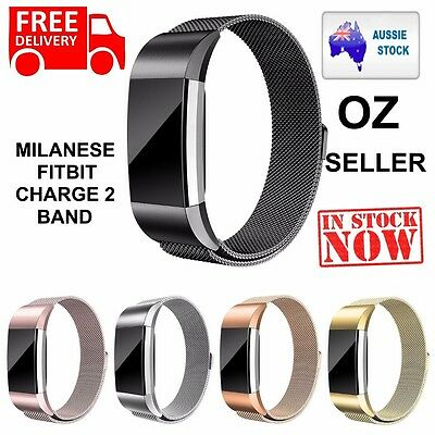 Metal Stainless Steel Milanese Loop Wristband Strap For Fitbit Charge 2 Band