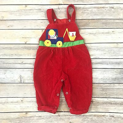 VINTAGE Boys Size 12m Red Corduroy Overalls