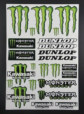 Monster Sponsors Aufkleber blatt Laminiert stickers decal moto cross zx10r zx6r