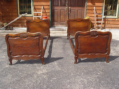 Beautiful Pair of Carved Original Antique Oak Single Twin / Child's Beds 19th c.