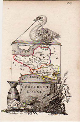 Antique Miniature Map of Somerset & Dorset by Perrot. French, Hand Colored. 1...