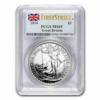 New 2014 UK Great Britain Silver Britannia 1oz First Strike PCGS MS69 Graded