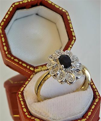 Large vintage  Solid 9ct Gold SAPPHIRE DIAMOND CLUSTER RING Size P Hm br17