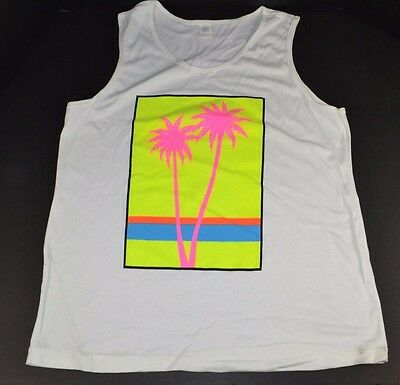 Vtg 80s/90s NEON Print BEACH PALM TREES White TANK TOP T-Shirt One-Size