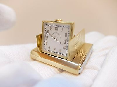 ANTIQUE VACHERON & CONSTANTIN SOLID 18K GOLD SUB MINIATURE CLOCK (Watch video)