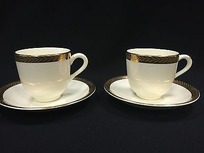 Vintage Derwood W.S. George 22 Carat Gold Trim Tea Cups & Plates