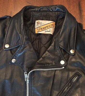VTG Schott Perfecto Leather Motorcycle Jacket 70's 80's Biker Punk Metal Rocker