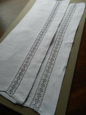 "Antique white Irish linen towel with insert crochet lace to both ends 26"" x 38"""