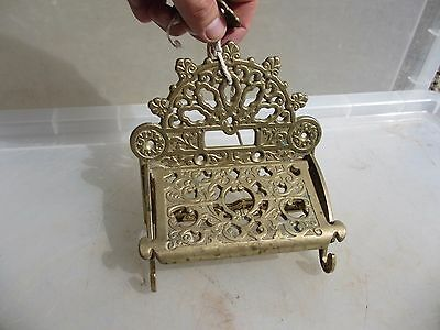Cast Brass Loo Roll Holder Toilet WC Victorian Antique Style Ornate Gilt Leaf
